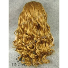 Lace Front Wig. Wavy Blonde Gold Long Wig