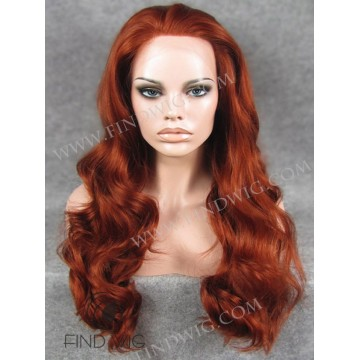 Lace Front Wig. Wavy Red / Ginger Long Wig