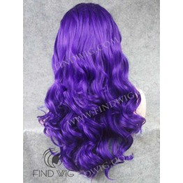 Wig For Show And Performance. Wavy Blue Long Lace Wig