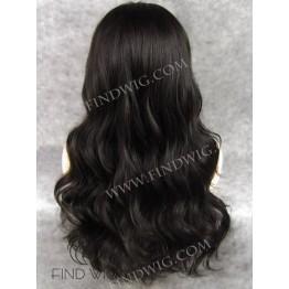 Lace Front Wig. Wavy Dark Brown Long Wig