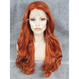 Lace Front Wavy Ginger Red Long Wig