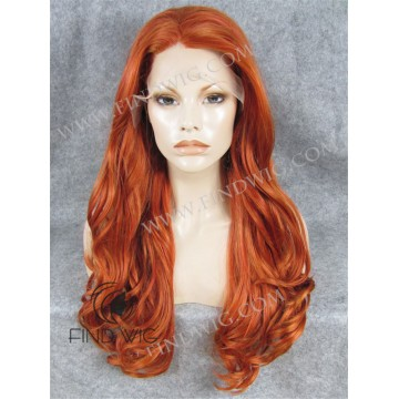 Lace Front Wig. Wavy Ginger Red Long Wig