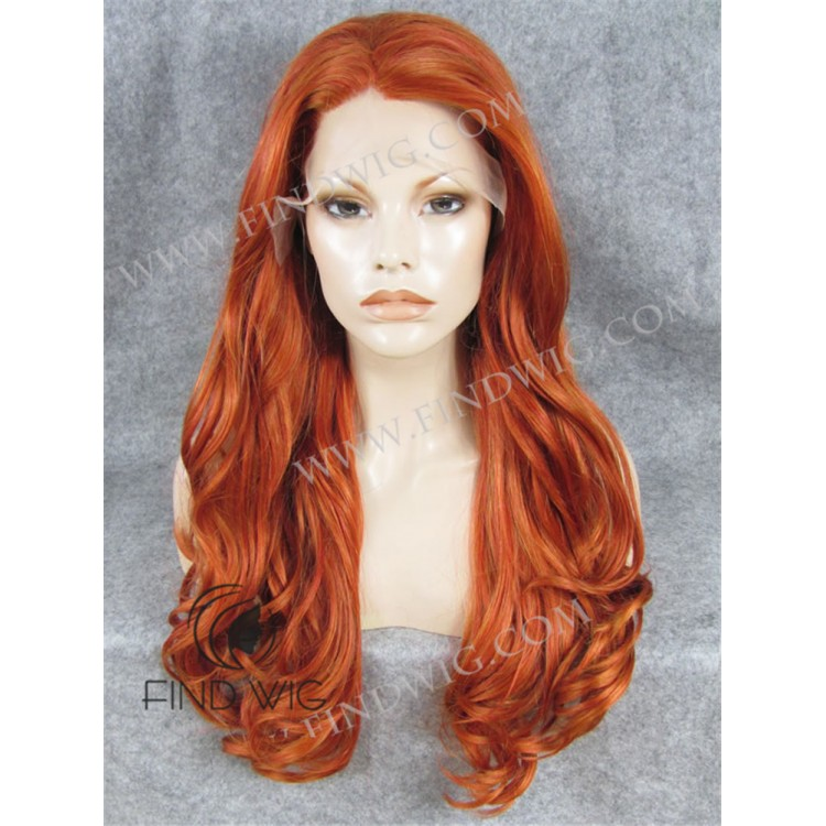 Ginger Red Long Wig. Lace Front Wig. Wavy Ginger Wig. Buy Wig Online 3cf30d85b