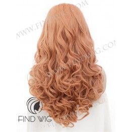 Lace Front Wig, Wavy Apricot Color Long Wig