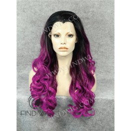 Lace Front Wig For Show. Wavy Purple Long Wig With Dark Roots