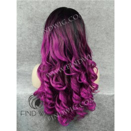 Wavy Purple Long Wig With Dark Roots. Lace Front Wig For Show