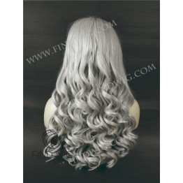 Wavy Blonde Ash Grey Long Wig. Lace Front Wigs On-Line