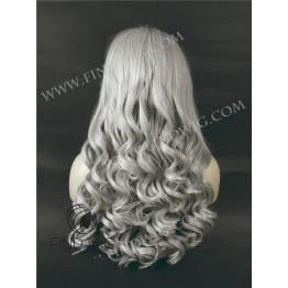 Wavy Blonde Ash Grey Long Wig. Kanekalon Fiber Lace Front Wig