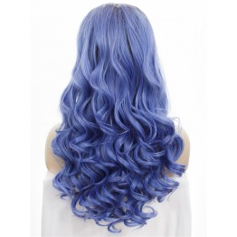Wavy Light Blue Long Lace Front Wig for Show
