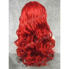 Drag Lace Wig. Wavy Bright Red Long Wig