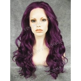Party Lace Wig. Wavy Lilac Long Wig