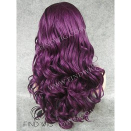 Party Lace Front Wig. Wavy Lilac Long Wig