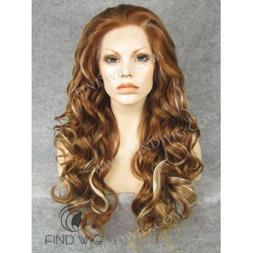 Wavy Long Gold Blonde / Ginger Highlighted Lace Wig