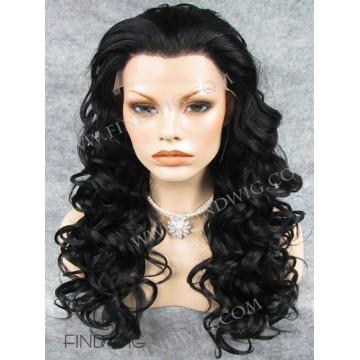 Kanekalon Curly Black Long Lace Front Wig