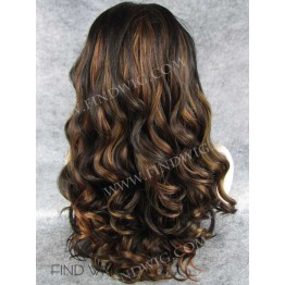 Kanekalon Wigs. Curly Chestnut Highlighted Long Wig