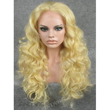 Lace Front Wig. Curly Blonde Long Wig