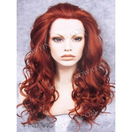 Lace Front Wig. Curly Red Ginger Long Wig