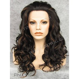 Curly Chestnut Highlighted Long Lace Front Wig