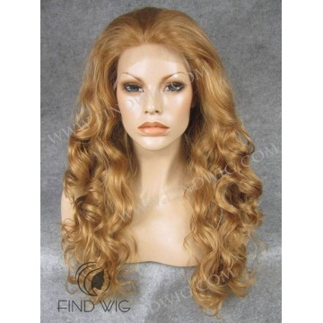 Lace Front Wig. Curly Blond Gold Long Wig