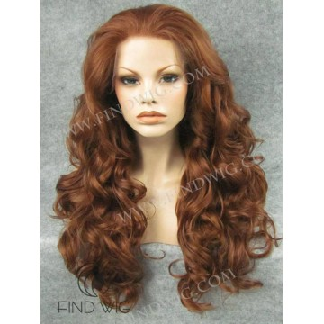Lace Front Wig. Curly Chestnut Long Wig