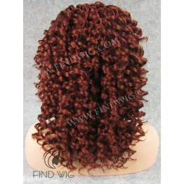 Kanekalon Curly Red Ginger Medium Long Lace Front Wig