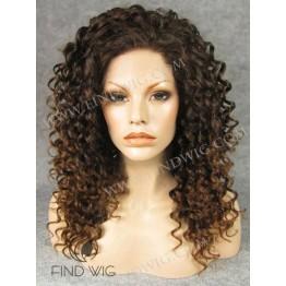 Kanekalon Curly Chestnut Medium Long Lace Front Wig