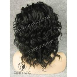 Lace Front Wig. Wavy Black Short Wig